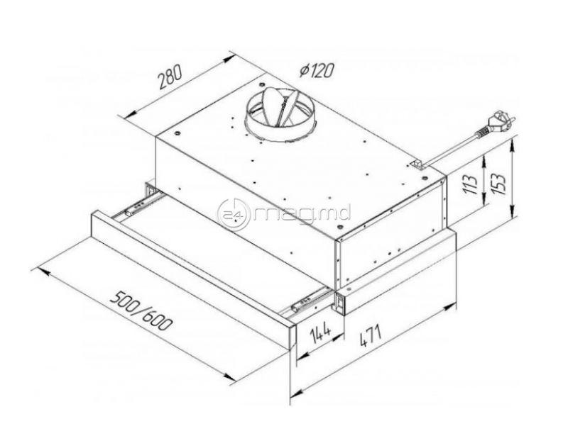 PYRAMIDA TL 50 SLIM WH 50 cm 400 m³/h