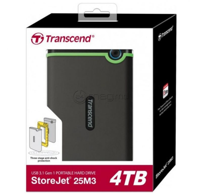 """TRANSCEND STOREJET 25M3S HDD negru 2.5"""" USB 3.1 4.0 TB"""