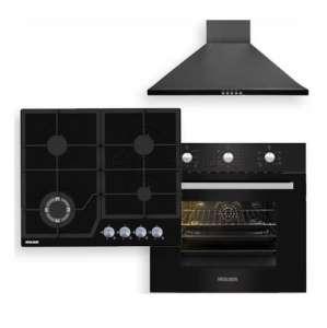 WOLSER WL -F 601 AF BLACK + WL- F 66 MSN + WL-6400 GBN Q BLACK Hota Plita incorporabila Cuptor incorporabil