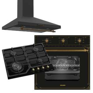 WOLSER WL-B 60 M BLACK RUSTIC + WL- F 66 RUSTIC BLACK + WL- F 6402 GT IC RUSTIC BLACK Hota Plita incorporabila Cuptor incorporabil